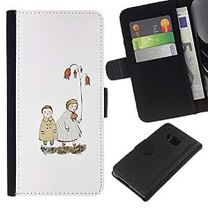 EJOY---La carpeta del tirón la caja de cuero de alta calidad de la PU Caso protector / HTC One M7 / --Blanca Pastel Mar Amor Pareja