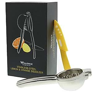Lemon Squeezer Bundle Superior Quality Manual Citrus Orange Juicer W/Free Ceramic Knife. 304 Grade Stainless Steel In Premium Gift Box (1 Unit)