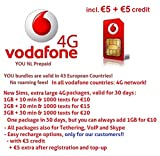 Vodafone NL | 4G/LTE Europe Prepaid SIM | free 4G data Roaming in: 31 countries (EU + EEA) | Tethering, VoIP, Skype available | 3 in 1 Sim Card
