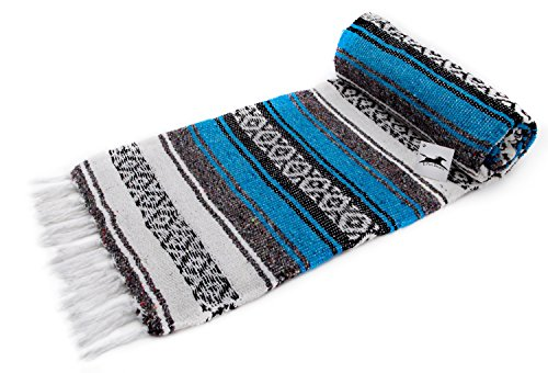 El Paso Designs Genuine Mexican Falsa Blanket - Yoga Studio Blanket, Colorful, Soft Woven Serape Imported from Mexico (Turquoise)
