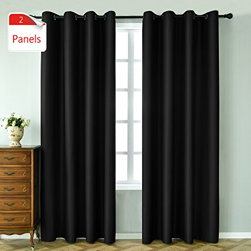 KEQIAOSUOCAI 1 Pair New Tech Faux Silk 99% Blackout Curtains Panels 84 inches long for bedroom-W ...