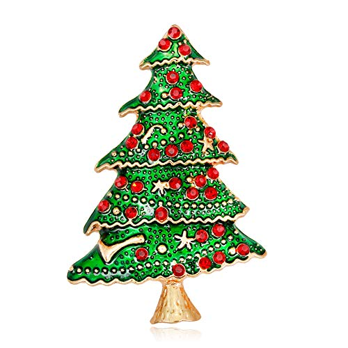 Fablcrew Exquisite Christamas Series Enamel Brooches Pin Jewelry Women Decor Size 5.0x3.3cm (Christmas Tree)