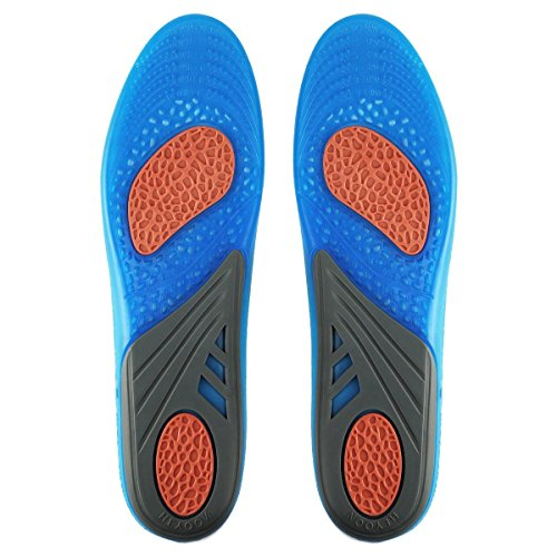 HLYOON Gel Sports Insoles for Foot Pain and Fasciitis Relieve, Full Length Comfort Inserts for Heel Protection, Shock Absorption, Shoe Inserts 1 Pair, Size 7.5-14 by HLYOON