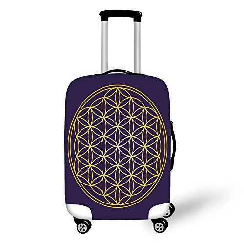 Suitcase Protector,Abstract,Geometric Curved Rounds Shape Overlapping Circles Artsy Sacred Image,Dark Purple Earth Yellow,for Travel ()
