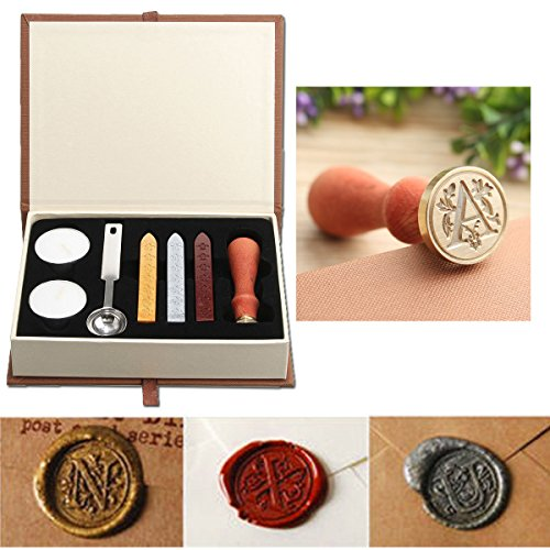Wax Seal Stamp Kit,Mingting Vintage Wax Stamp Seal Kit Initial Letters Alphabet - Wax Stamper Seal