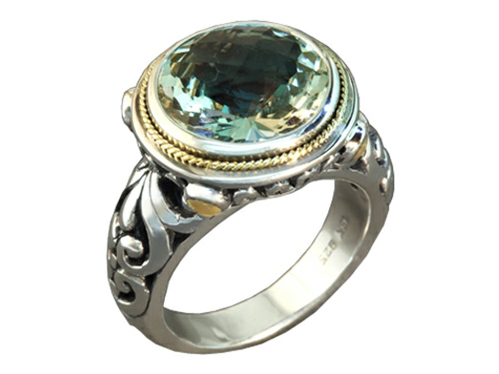 Balissima By Effy Collection Sterling Silver and 18k Yellow Gold Green Amethyst Ring Size 5