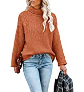 Ofenbuy Women's Turtleneck Long Sleeve Oversized Sweaters Chunky Knitted Solid Loose Jumper Pullo...