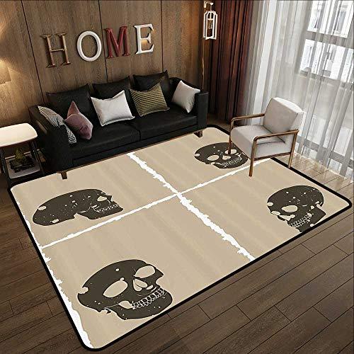 Indoor Outdoor Rugs,Grunge,Skull Figure on Murky Flat Framework Halloween Crossbones Spooky Monster Image,Tan Dark Taupe 59