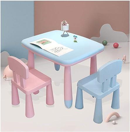 CHAXIA Silla De Mesa Infantil Aprendizaje Mesas De Pintura Mesa De Juego Estable Antideslizante Fácil De Limpiar 1 Mesa 2 Sillas, 5 Estilos (Color : D): Amazon.es: Hogar