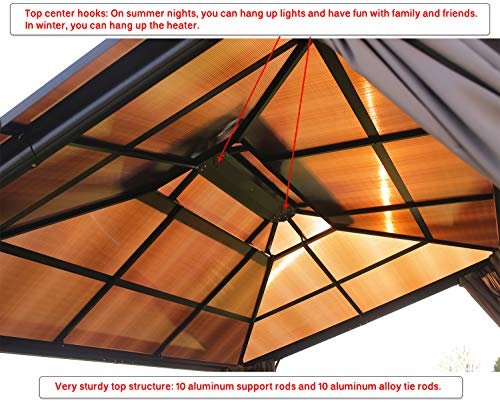 Garden and Outdoor Erommy 10x13ft Outdoor Double Roof Hardtop Gazebo Canopy Aluminum Furniture Pergolas with Netting and Curtains for… pergolas