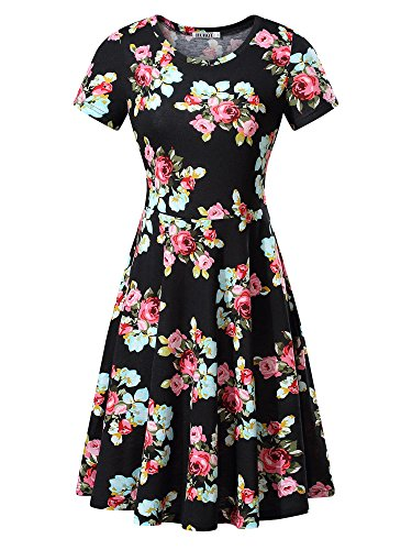 HUHOT Women Short Sleeve Round Neck Summer Casual Flared Midi Dress (Medium, Red Peony)