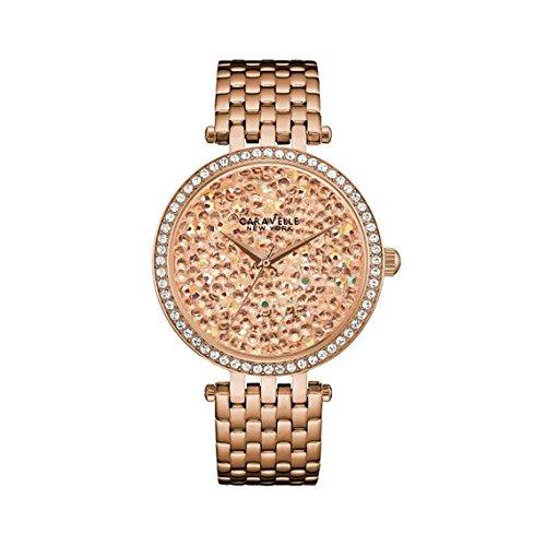 (Caravelle New York Women's 44L222 Swarovski Crystal  Rose Gold Tone Watch )