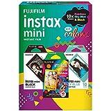 Filme Instax Color 3 Packs com 10 Poses, Fujifilm, Sky Blue, Rainbow e Black