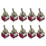 E Support 10 x On/Off/On Momentary Mini Miniature Toggle Switch Car Dash Dashboard DPDT 6Pin