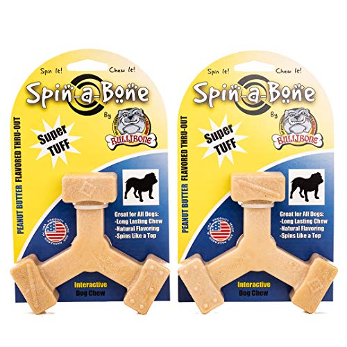 Bullibone Nylon Dog Chew Toy Spin-a-Bone – Interactive Dog Toy, Triggers Natural Instincts, and Improves Oral Health