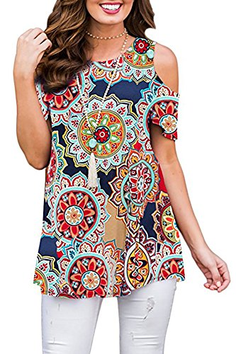 Tribal Print Top - Anatoky Womens Tribal Print Cold Shoulder Short Sleeve Swing Tunic Blouse Casual Top
