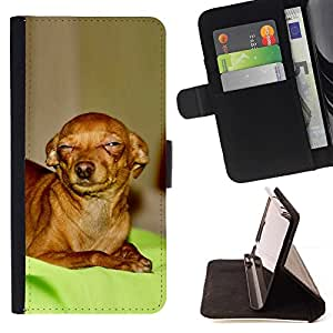 For Sony Xperia Z1 Compact D5503 Skeptical Chihuahua Canine Pet Canine Beautiful Print Wallet Leather Case Cover With Credit Card Slots And Stand Function