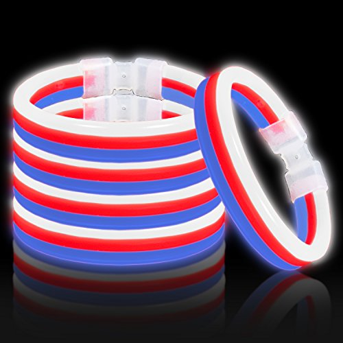Lumistick Glow Band Bracelets - Triple Wide Neon Party Favor Glow Sticks with Connectors Red White and Blue 30ct ()