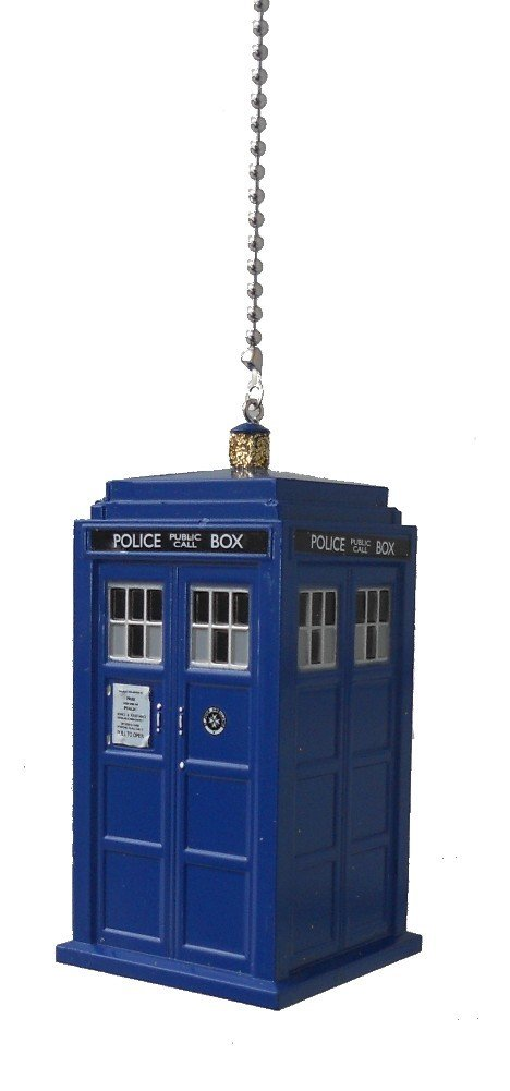 doctor Dr. Who character - CEILING Fan PULL light chain ornament (Blue Tardis) by Knight (Image #1)