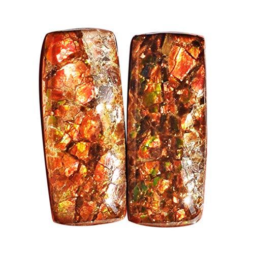 (ABC Jewelry Mart Amazing Quality Genuine Red Flashy Ammolite Pair Cabochon, Size 25x10x5 MM Earring Pair Stone, Ammonites AG-12128)