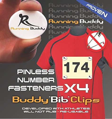 Running Buddy [Highly Rated] Buddy Bib Clips - No Pins or Holes.Simply Snap & Lock - Runners, Triathletes and Cyclists. No More Safety pins in Your Race Bibs!