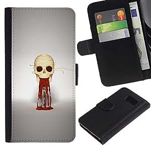 KLONGSHOP // Tirón de la caja Cartera de cuero con ranuras para tarjetas - Puke cráneo - Samsung Galaxy S6 //