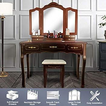 Amazon Com Bobkona Jaden Collection Vanity Set With Stool