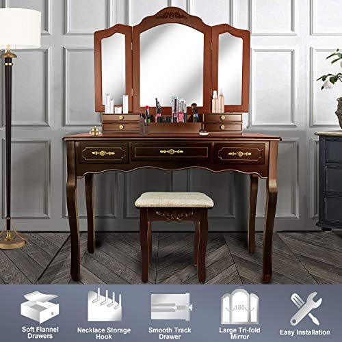 Cherry Vanity Bench - Vanity Beauty Station,Large Tri-Folding Necklace Hooked Mirrors,6 Organization 7 Drawers Makeup Dress Table with Cushioned Stool Set - Espresso
