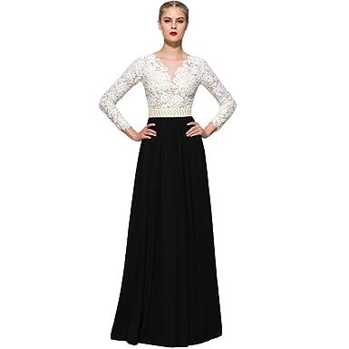Kivary Sheer Ivory Lace Pearls Long Chiffon Prom Dresses Formal