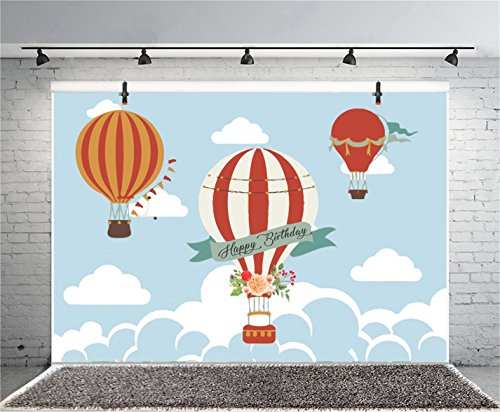 Leyiyi 7x5ft Photography Background Happy Birthday Party Backdrop Banner Hot Air Balloon Upsky Cloud Heaven Cake Candles Flower Gifts Wallpaper Baby Shower Photo Portrait Vinyl Studio Video Prop