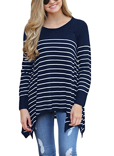 Stripe Pullover Sweater (sidefeel Women Round Neck Stripes Loose Knit Sweater Pullover Tops X-Large Navy)
