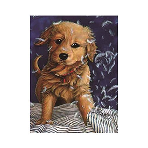 Xuanhemen Yellow Dog Rhinestone Painting 5D DIY Resin Crystal Embroidery Animal Picture Unfinished Cross Stitch