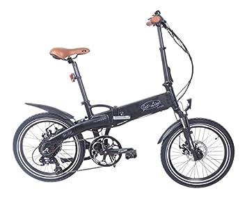 Bicicleta plegable eléctrica de Jet Line, diseño retro en color negro. Con 7 velocidades