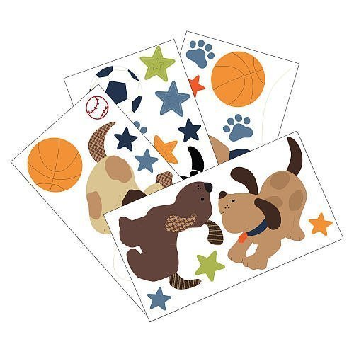 Lambs & Ivy Bow Wow Wall Appliques (Stick Appliques Self Wall)