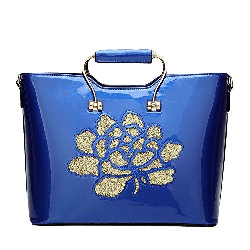 Zgjq Fashion Bag European And American Diagonal Shoulder Bag Sequins Leather Bag Package Bag Embroidered Bag Patent Blue
