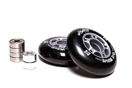 Street Surfing Pair of Wave Wheels (Grey Core), BlackGrey, 78mm