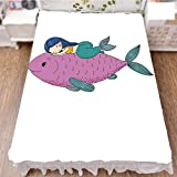 """iPrint Bedding Duvet Cover Set 3D Print,Top Giant Fish Happy Best Friends Kids Nursery,Fashion Personality Customization adds Color to Your Bedroom. by 47.2""""x78.7"""""""