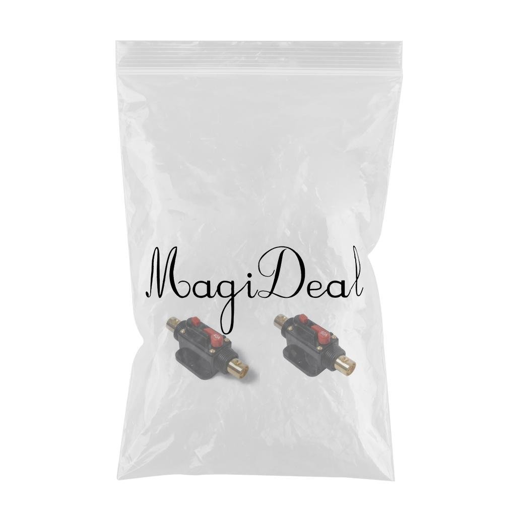 MagiDeal 2 Pieces DC 12V-48V Car Stereo Audio Circuit Breaker Inline Fuse Fits for 4-8 Gauge Wire 40//60A