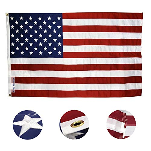 American Flag 3x5 Foot with Embroidered Stars,Premium US Flag for Outdoor and House,Brass Grommets and Sewn Stripes,Durable Waterproof Oxford Cloth with Bright Color that Not ()