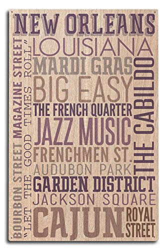 Lantern Press New Orleans, Louisiana - Typography (10x15 Wood Wall Sign, Wall Decor Ready to Hang)