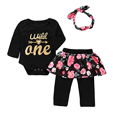 c1d021fa5676 Newborn Toddler Baby Girl Floral Wild One Arrow Print Long Sleeves Romper  Jumpsuit Floral Pants Headband