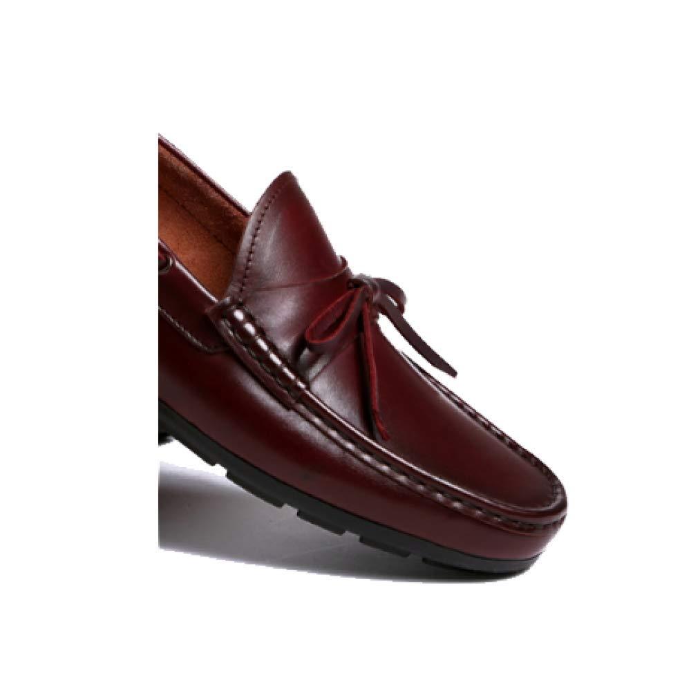 Männer Leder Schuhe Schuhe Geschäft Casual Niedrig Hilfe Faule Schuhe Leder Komfortable Fahren Atmungsaktive Soft WineROT 8942e2