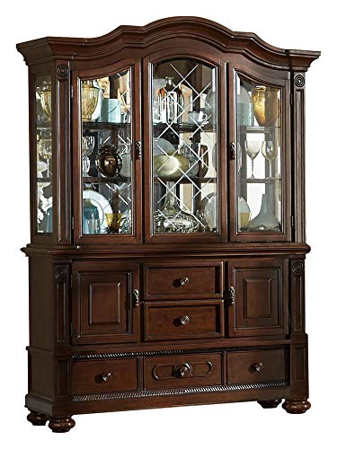 - Licona Traditional Buffet & Hutch in Brown Cherry