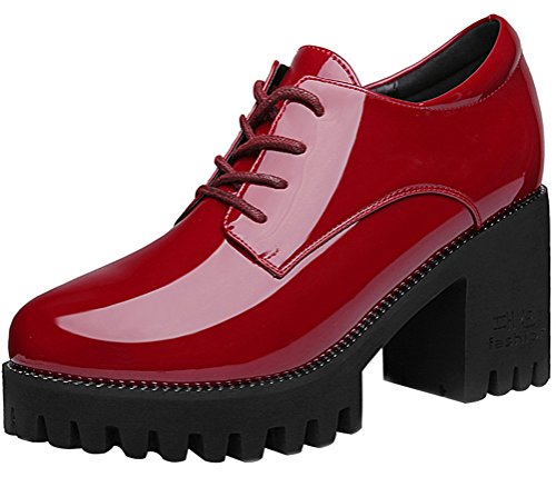Passionow Women's Trendy Round Toe Lace-Up Anti-Slip Platform Block Chunky Heel PU Shoes (6 B(M)US,Red) (Doc Martin Sandels)