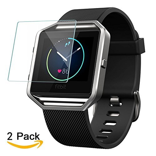 iMOMO [2-Pack] Screen Protector Compatible for Fitbit Blaze Smartwatch, Waterproof Tempered Glass Screen Protector [9H Hardness] [Crystal Clear] ...