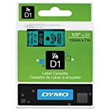DYMO 45019 D1 High-Performance Polyester Removable Label Tape, 1/2'' x 23 ft, Black on Green