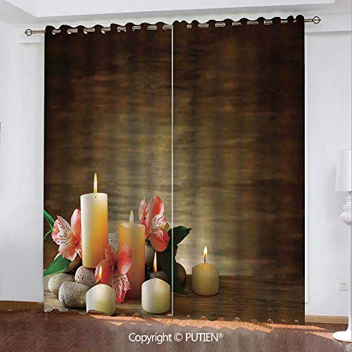- Satin Grommet Window Curtains Drapes [ Spa Decor,Spa Composition with Many Candles Wellbeing Unity and Neutrality Icons Calm Happiness Home Decor,Multi ] Window Curtain for Living Room Bedroom Dorm Ro