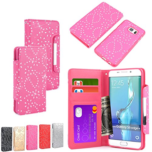 Galaxy S6 Edge Plus Case, HESPLUS Magnetic [Bling] [Detachable] [Wallet] Premium PU Leather Case Folio Flip Cover with Wrist Strap for Samsung Galaxy S6 Edge Plus (Pink)