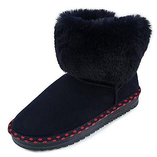 HSXZ Zapatos de Mujer Otoño Invierno PU Confort botas botas de nieve talón puntera redonda plana Mid-Calf botas para Casual Azul Gris negro Blue