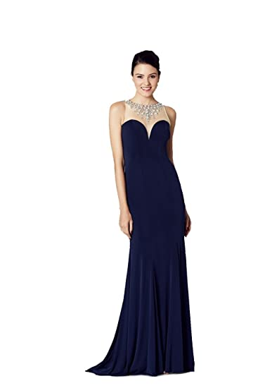 Tiffanys Illusion Prom Navy Naomi Jersey Bead Detail Prom Dress UK 2